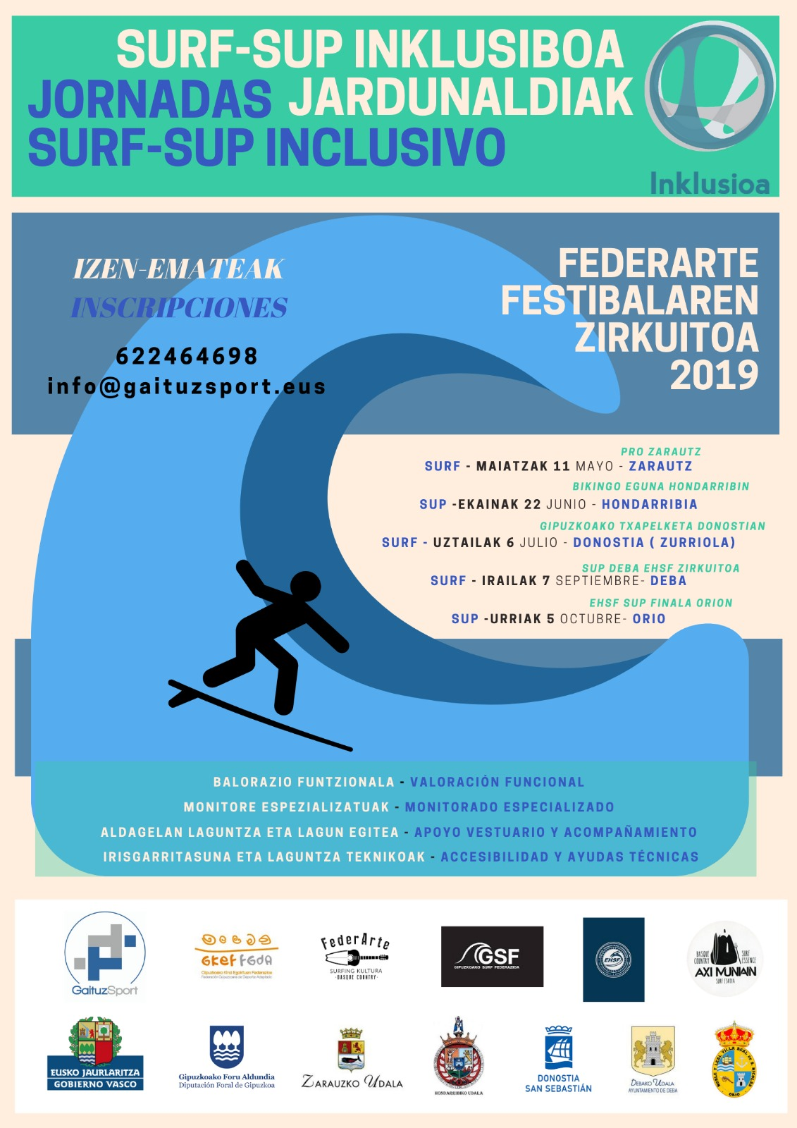 Cartel Jornadas de Surf Inclusivo 2019